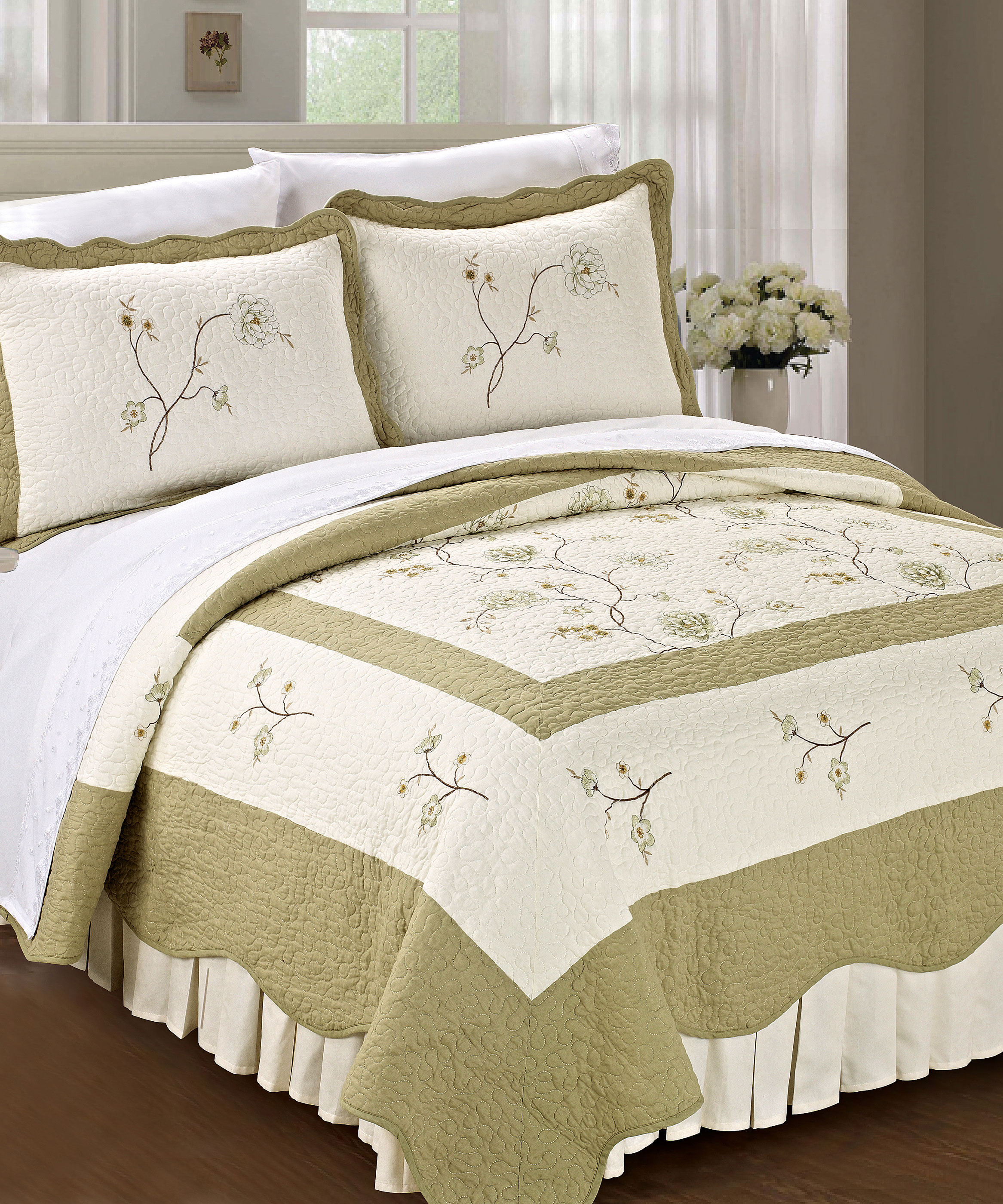 Spring Flowers Quilted Microfiber Bedspread Set Bnf Home Inc