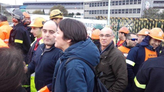 Ana Pontón traslada o apoio do BNG a traballadores e traballadoras de Alcoa na marcha da cidade da Coruña