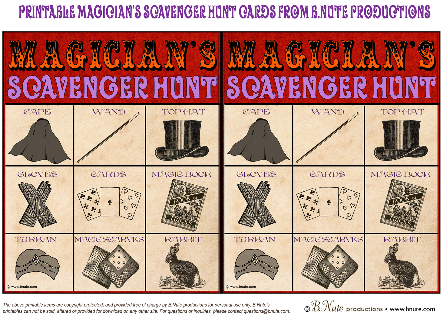 Bnute Productions Free Printable Magician S Scavenger Hunt Game