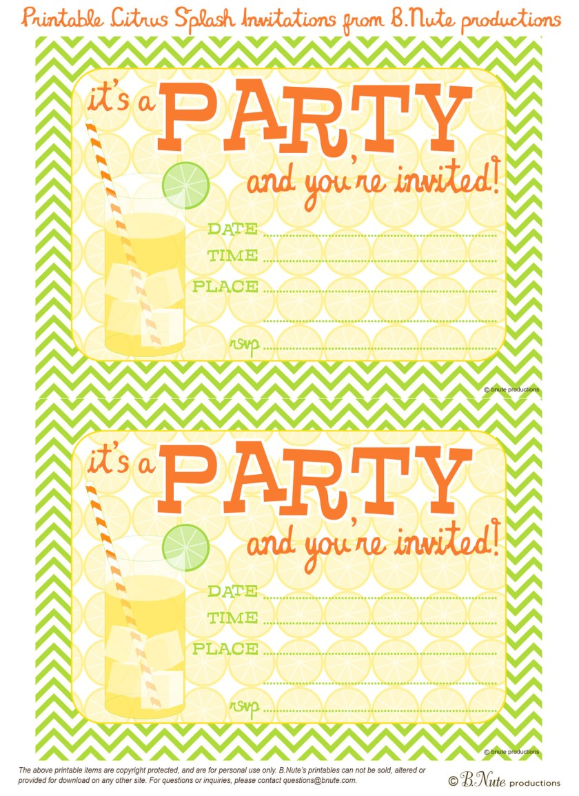 Free Printable Citrus Splash Party Invitations From B Nute Ions