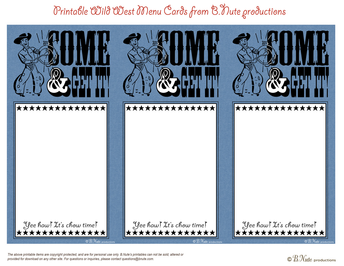 Bnute Productions Free Printable Western Menu Cards
