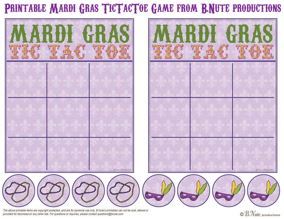 Bnute Productions Printable Mardi Gras Tictactoe Game