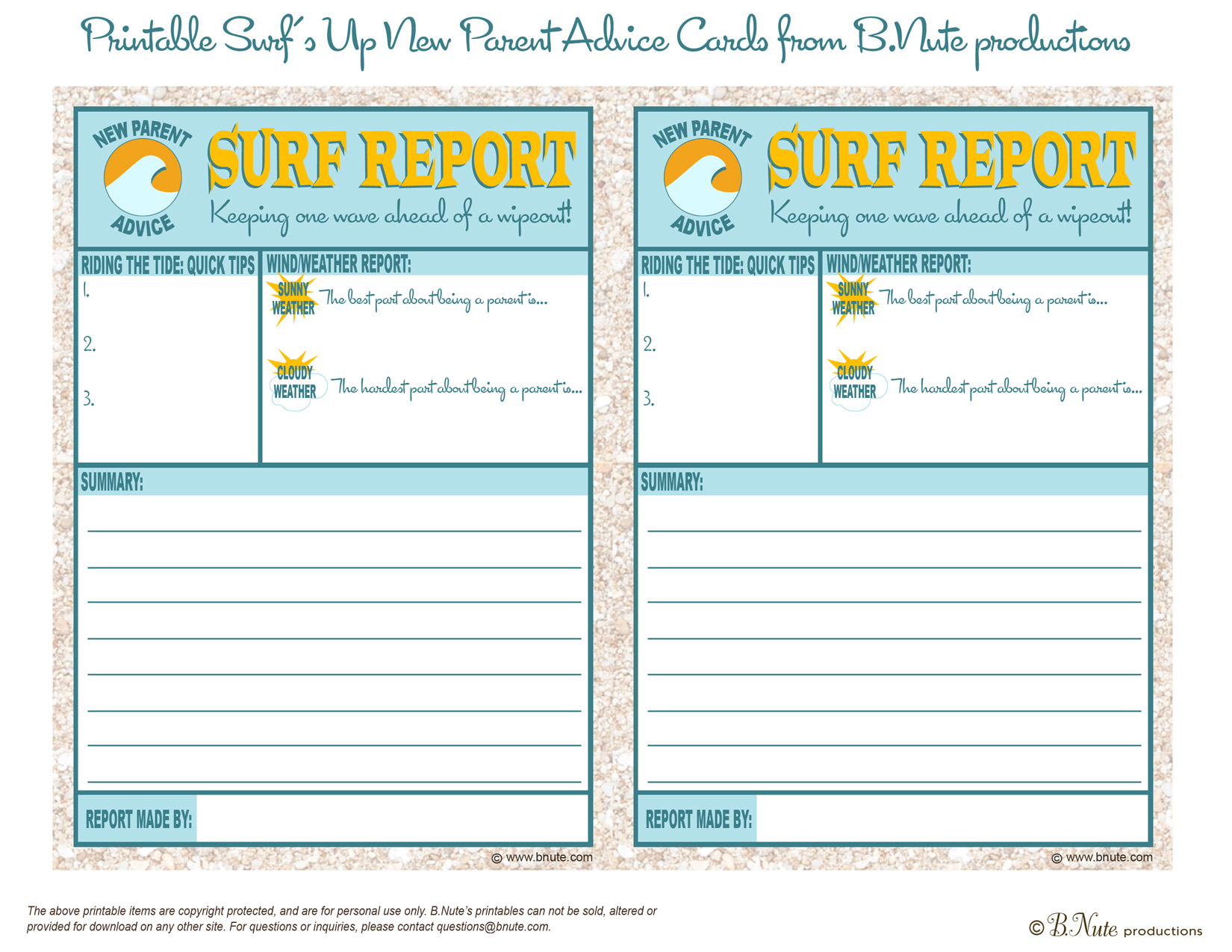 Bnute Productions Free Printable Surf Report New Parent