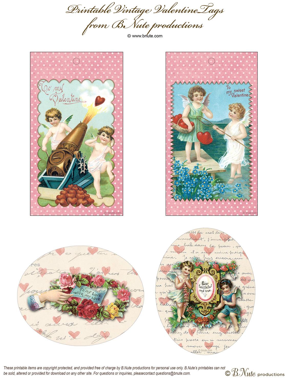 Bnute Productions Free Printable Vintage Valentine Tags