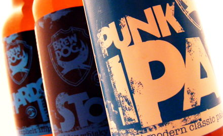 Thee Brew Dog IPAs sitting on a wall