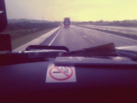 View of a motorway from a van.
