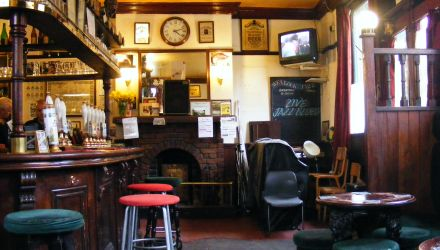 View of the bar at the Wenlock Arms.