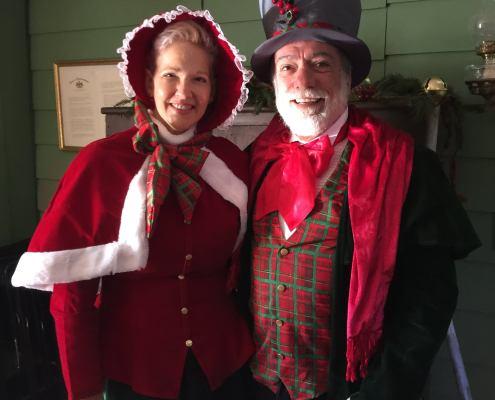 Two Victorian Christmas Reenactors