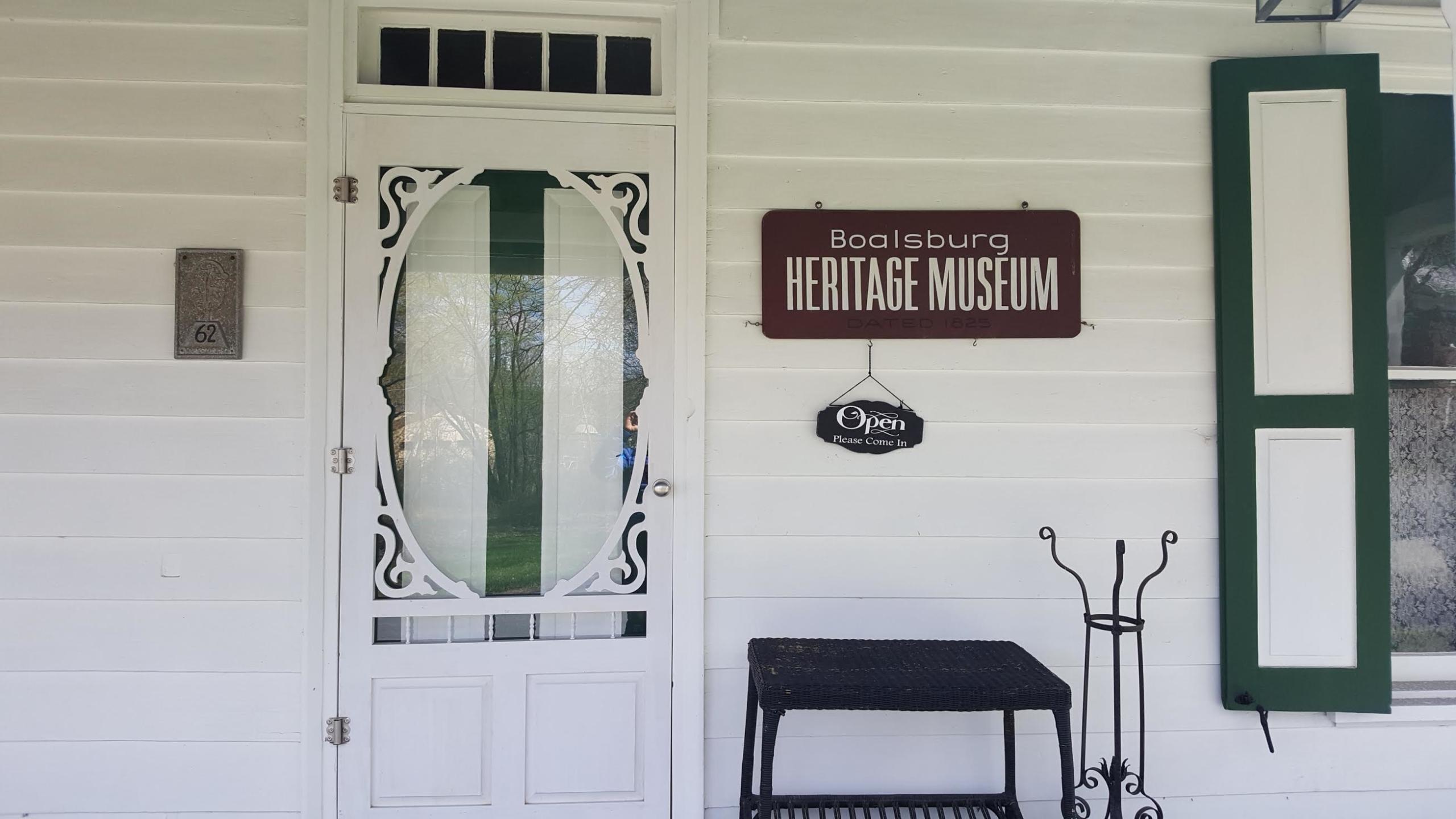 Front door of Boalsburg Heritage Museum with open sign