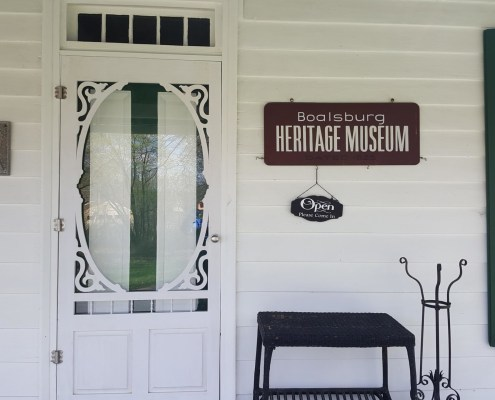 Front door of Boalsburg Heritage Museum with open sign