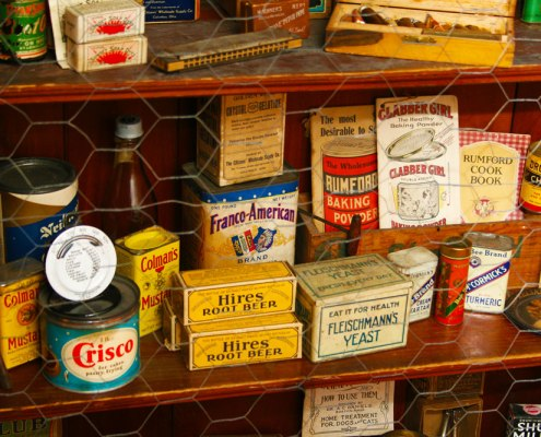 Vintage pantry items in original packaging