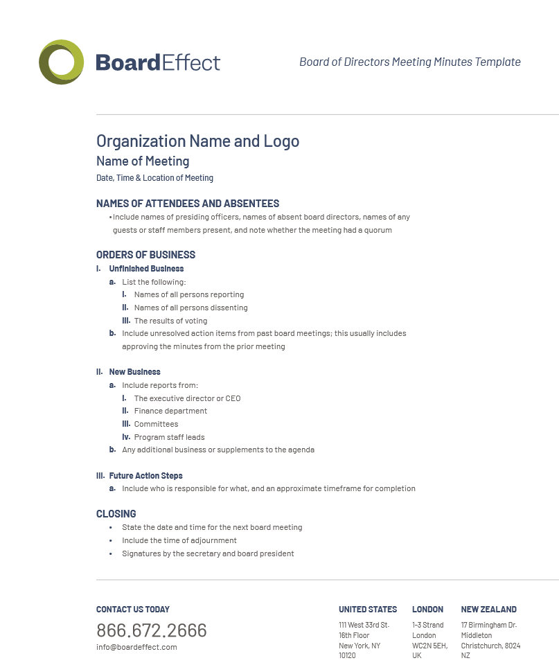 Board meeting minutes for date of meeting. Board Meeting Minutes Template Board Minutes Best Practices