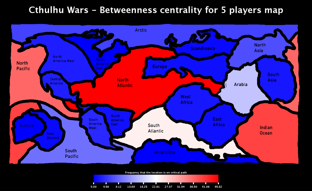 Cthulhu Wars - Betweenness Centrality for 5 players Map