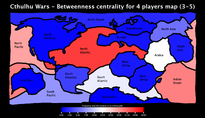 Cthulhu Wars - Betweenness Centrality for 4 players Map (3-5)