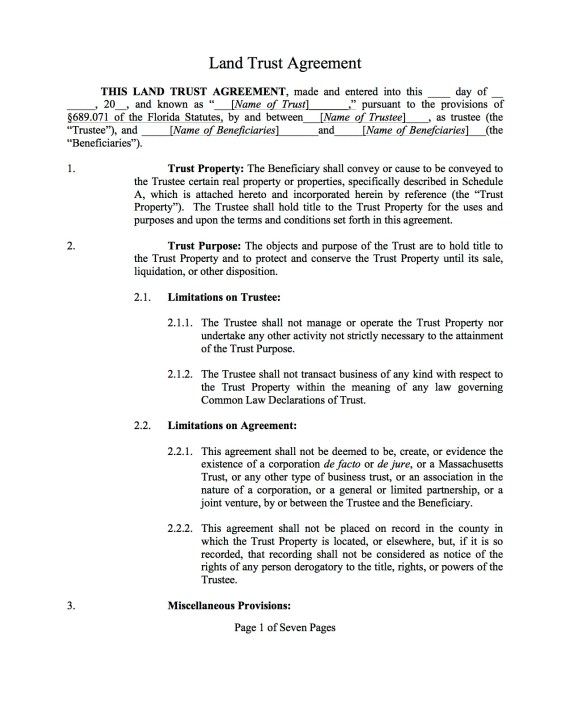 Standard Florida Land Trust Agreement Template Complete