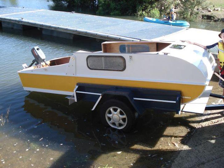 When You See This Tiny DIY Boat Camper Youll Love It