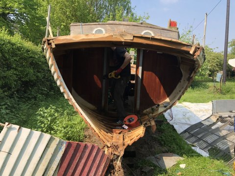 The Only Way is Essex: Scrap Yacht in an Orchard - Boat Cut in half