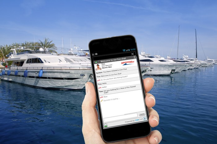 Mobile chat for boat dealership websites