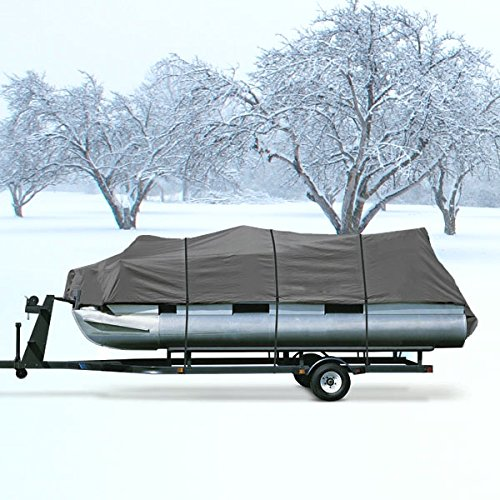 "NEH® HEAVY DUTY WATERPROOF GRAY PONTOON COVER FITS LENGTH 20' 21' 22' 23' 24' ' - BEAM WIDTH 102"" SUPERIOR TRAILERABLE PONTOON COVERS 600 DENIER INBOARD OUTBOARD PONTOON COVERS"