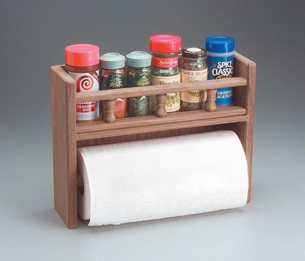 Whitecap 62446 Teak Spice Rack With Paper Towel Holder