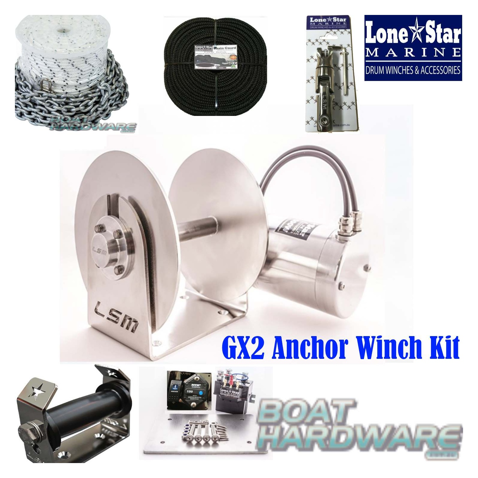 hight resolution of gx2 1000w anchor winch combo 90m x 8mm kit