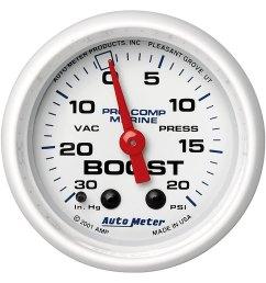 auto meter marine 2 06 white in dash mount mechanical boost vacuum [ 1500 x 1500 Pixel ]