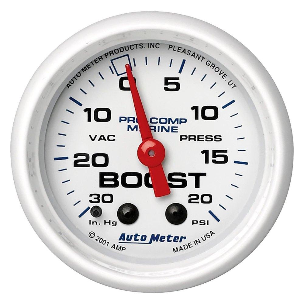 medium resolution of auto meter marine 2 06 white in dash mount mechanical boost vacuum