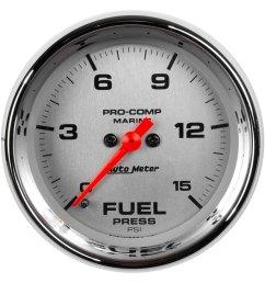 auto meter marine 2 06 chrome in dash mount electric fuel pressure gauge [ 1500 x 1500 Pixel ]