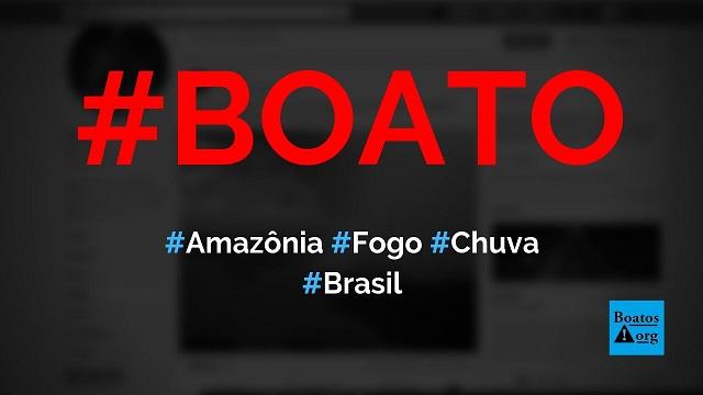 Choveu na Amazônia hoje e cerca de 40% do fogo foi apagado, diz boato (Foto: Reprodução/Facebook)