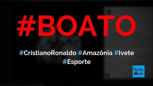 Cristiano Ronaldo e Ivete Sangalo enviam aviões para apagar os incêndios na Amazônia, diz boato