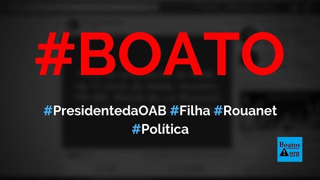 Filha de presidente da OAB, Felipe Santa Cruz, recebeu R$ 790 mil da Lei Rouanet para atuar em peça de teatro, diz boato (Foto: Reprodução/Facebook)