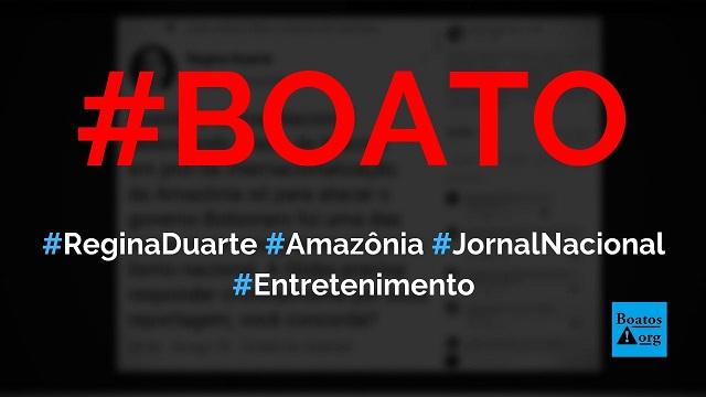 Regina Duarte critica o Jornal Nacional, Globo e Macron em post no Twitter, diz boato (Foto: Reprodução/Facebook)