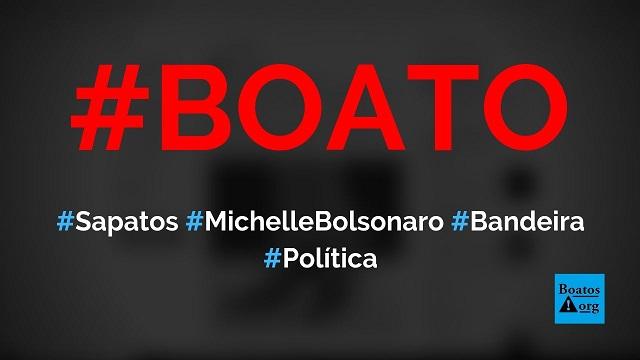Michelle Bolsonaro usou sapato da bandeira do Brasil exclusivo no 7 de setembro, diz boato (Foto: Reprodução/Facebook)