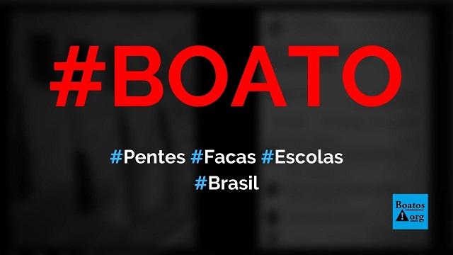 Facas escondidas dentro de pentes são as novas ameaças em escolas do Brasil, diz boato (Foto: Reprodução/Facebook)