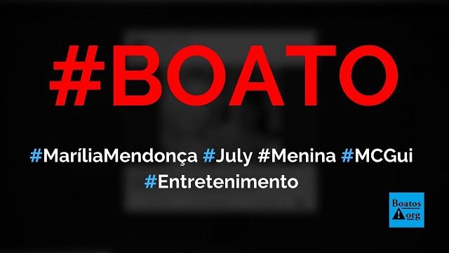 Marília Mendonça vai pagar tratamento para July, menina humilhada por MC Gui, diz boato (Foto: Reprodução/Facebook)