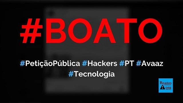 Sitepeticaopublica.orgredireciona petição para página da Avaaz contra Bolsonaro, diz boato (Foto: Reprodução/Facebook)