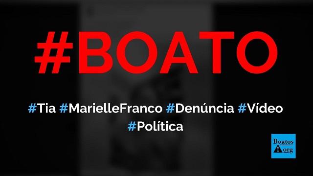 Tia de Marielle Franco denuncia armação de Brazão, Witzel e Globo contra Bolsonaro, diz boato (Foto: Reprodução/Facebook)