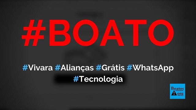 Vivara está dando 3 mil alianças grátis em site no WhatsApp, diz boato (Foto: Reprodução/Facebook)