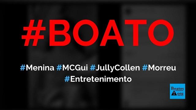 Jully Collen, menina que apareceu em vídeo de MC Gui na Disney, morreu, diz boato (Foto: Reprodução/Facebook)