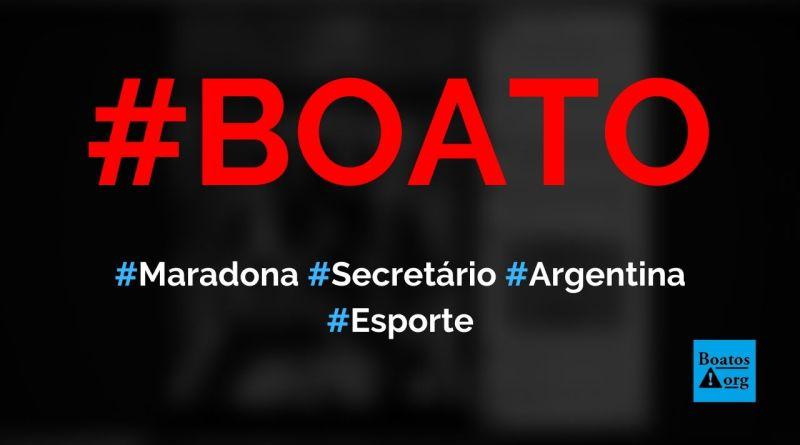 Maradona é nomeado secretário de política antidrogas da Argentina, diz boato (Foto: Reprodução/Facebook)