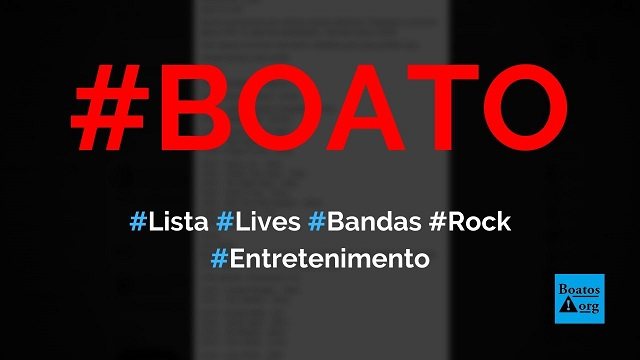 Lista de lives de artistas de rock para os próximos dias vazou na internet, diz boato (Foto: Reprodução/Facebook)