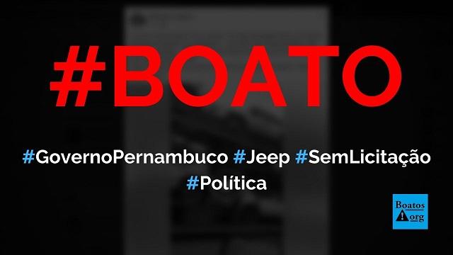Governo de Pernambuco comprou 140 Jeep Renegade sem licitação para fazer bloqueios de quarentena, diz boato (Foto: Reprodução/Facebook)