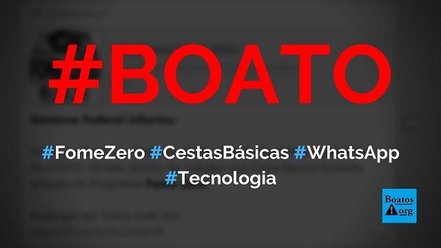 Programa Fome Zero dá cestas básicas para quem compartilhar link no WhatsApp, diz boato (Foto: Reprodução/WhatsApp)