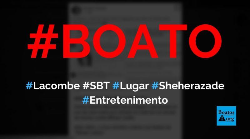 SBT contratou Luís Ernesto Lacombe e o colocou no lugar de Rachel Sheherazade, diz boato (Foto: Reprodução/Facebook)