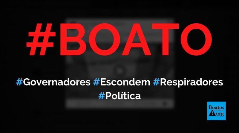 Governadores e prefeitos escondem respiradores enviados por Bolsonaro em galpões e não mandam para hospitais, diz boato (Foto: Reprodução/Facebook)