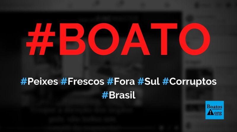 Vídeo mostra peixes e camarões frescos sendo jogados fora por fiscais corruptos de estados do Sul do Brasil, diz boato (Foto: Reprodução/Facebook)