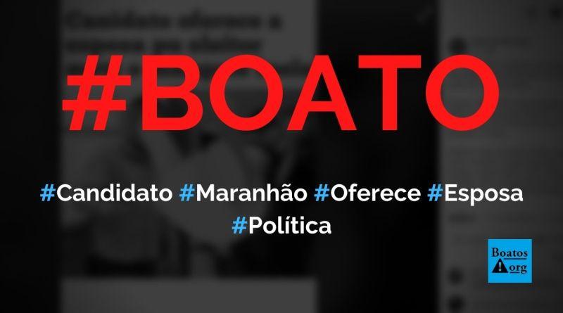 Candidato a vereador oferece esposa em troca de votos, diz boato (Foto: Reprodução/Facebook)