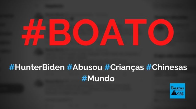 Hunter Biden, filho de Joe Biden, abusou e torturou crianças chinesas, diz boato (Foto: Reprodução/Facebook)