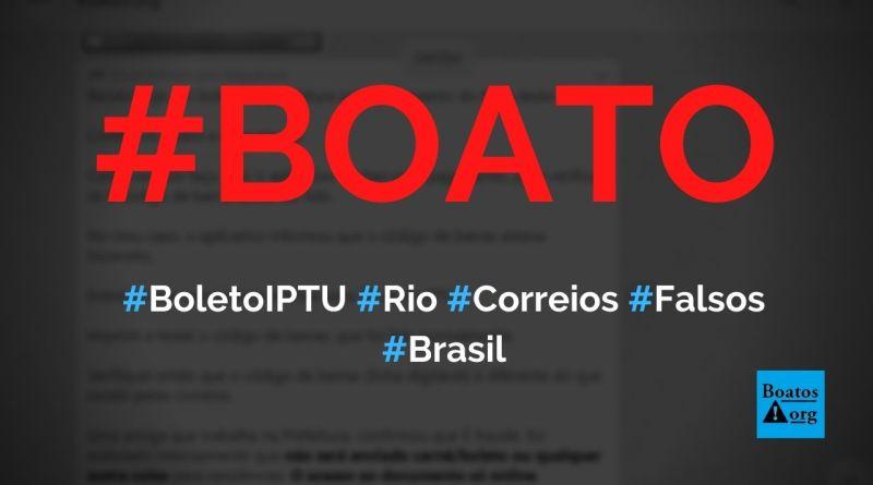 Boleto falso do IPTU 2021 está sendo enviado a contribuintes no Rio de Janeiro, diz boato (Foto: Reprodução/WhatsApp)