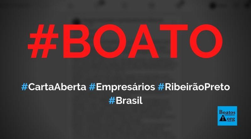 Carta aberta dos empresários de Ribeirão Preto (SP) prega descumprimento de decreto, diz boato (Foto: Reprodução/Facebook)